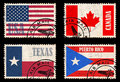 Set Of Stamps With Flags From North America Stock Images - 28912804