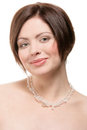 Woman Wearing Crystal Necklace Stock Photos - 28914903