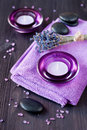 Zen Stones, Candles And Lavender For The Spa. Stock Images - 28918164