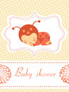 Baby Shower Card With Baby-ladybug Girl Sleeping Royalty Free Stock Photo - 28924095