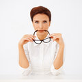 Beautiful Businesswoman Holding Spectacles Stock Image - 28952781