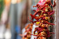 Dried Red Hot Chili Peppers Hanging From The Wall Royalty Free Stock Photography - 28960507