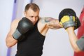 Boxer Man At Boxing Training With Punch Mitts Stock Image - 28960971
