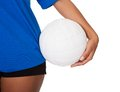 Young Girl Holding Volleyball Royalty Free Stock Images - 28969149