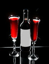 Bottle Of Wine And Two Wine Glasses Royalty Free Stock Image - 28969406