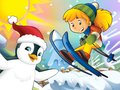 The Cartoon Child Downhill Jump - With Christmas Characters Stock Images - 28974924