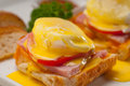 Eggs Benedict On Bread With Tomato And Ham Royalty Free Stock Photos - 28985788