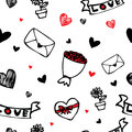 Hearts And Flower Symbol Cartoon Seamless Background Royalty Free Stock Photography - 28988237
