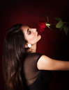 Woman With Red Rose Stock Image - 29000211