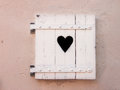 Closed White Old Shutters With Heart Shape (18) Stock Image - 29003461