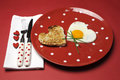 Love Theme Valentine Breakfast On Red Polka Dot Plate Stock Images - 29003574