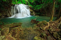 Waterfall In Tropical Forest, West Of Thailand Royalty Free Stock Photography - 29007847