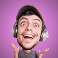 Puppet Man Listening To Music With Big Head Royalty Free Stock Images - 29010429