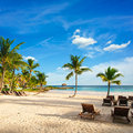 Sunset Dream Beach With Palm Tree Over The Sand. Tropical Paradise. Dominican Republic, Seychelles, Caribbean, Mauritius. Vintage Royalty Free Stock Photos - 29017108