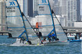 The start of the final race for the 49erFX class at the 2013 ISA