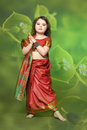 A Little Girl Is In The National Indian Dress Stock Image - 29023521
