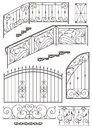 Vector Set: Wrought Iron Wicket, Railing, Fence Stock Photography - 29042072