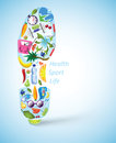 Sportive Shoe Footprint With Various Elements Royalty Free Stock Photo - 29044575
