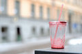 Empty Dirty Plastic Cup And Cocktail Straw Outdoor Stock Images - 29053644