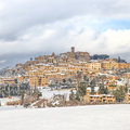 Tuscany, Casale Marittimo Village Covered By Snow In Winter. Italy Stock Photo - 29055180