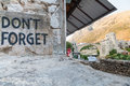 Mostar Bridge And Don T Forget Sign Royalty Free Stock Photo - 29056945