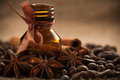 Bottle Coffee Aroma Oil With Aromatic Coffee Beans Stock Image - 29068171