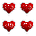 Different Percentages Off Discount In Red Hearts Buttons Stock Photography - 29072782
