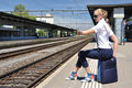Girl At The Railway Station Stock Photos - 29072933