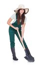 Beautiful Woman Holding Plant And Gardening Shovel Royalty Free Stock Photography - 29081807