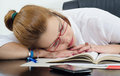 Tired Student Sleeping On The Books Instead Of Studying Royalty Free Stock Photo - 29096165
