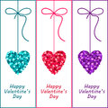 Valentine Hearts With A Bow. Heart Valentine Day Illustration. Stock Photos - 29100383