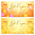 Gift Coupon / Card Template (stars, Bow, Ribbons) Royalty Free Stock Images - 29103029