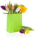 Shopping Bag Colorful Tulips Royalty Free Stock Photos - 29112508