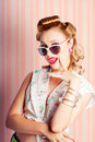 Glamorous Retro Blonde Girl Thinking Fashion Ideas Stock Photos - 29122563