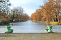 Historic Vases And Frozen Pond Stock Photography - 29131282