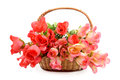 Basket With  Artificial Flowers Stock Photo - 29144350