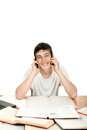 Student With Two Phones Royalty Free Stock Photo - 29144455