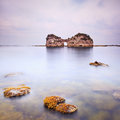 Hole Island And Rocks In A Tropical Blue Ocean. Cloudy Sky. Stock Photo - 29146050
