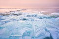 Broken Shelf Ice Pieces At Sunset On North Sea Stock Photography - 29156872