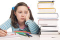 Beautiful Girl With Color Pencils And Books Worried Stock Photos - 29225223