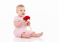 Little Baby With Flower Royalty Free Stock Photo - 29228665