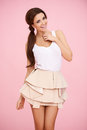 Cute Brunette On Pink Royalty Free Stock Photography - 29244527