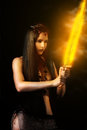 Sexy Woman Warrior With Fire Sword Stock Photos - 29255823
