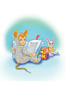 Kid In A Funny Pajamas With Book And Toys Stock Images - 29258804