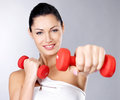 Photo Of A Healthy Training Young Woman With Dumbbells Stock Photo - 29259010