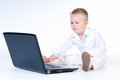 Little Business Boy In  Solid White Suit Sitting At Notebook. Stock Photos - 29280903
