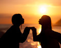 Silhouette Young Beautiful Friends Kiss Stock Photos - 29287383