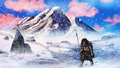 Ice Age Neanderthal Hunter In A Snow Storm - Digital Painting Stock Photography - 29314432