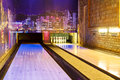 Bowling Alley With Pins Royalty Free Stock Photography - 29314837