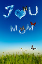 I Love You Mom Greeting Card With Cloud Letters Stock Image - 29316461
